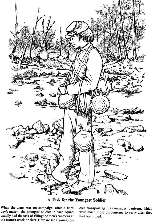 A SOLDIER'S LIFE IN THE CIVIL WAR ~~ Coloring Page 5 of 5