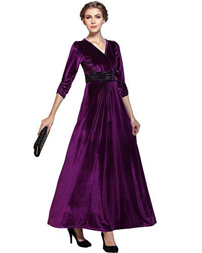 Medeshe Ladies Purple Velvet Christmas Party Maxi Dress Gown Us 1416 Be Sure To Check Out This Awesome Product Velvet Clothes Maxi Dress Party