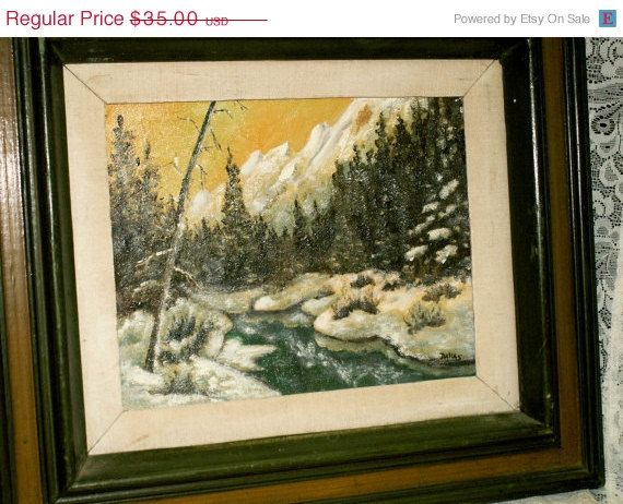 GOBBLEup vintage 70s Oil Painting Snowy River scene by dagutzyone, $26.25