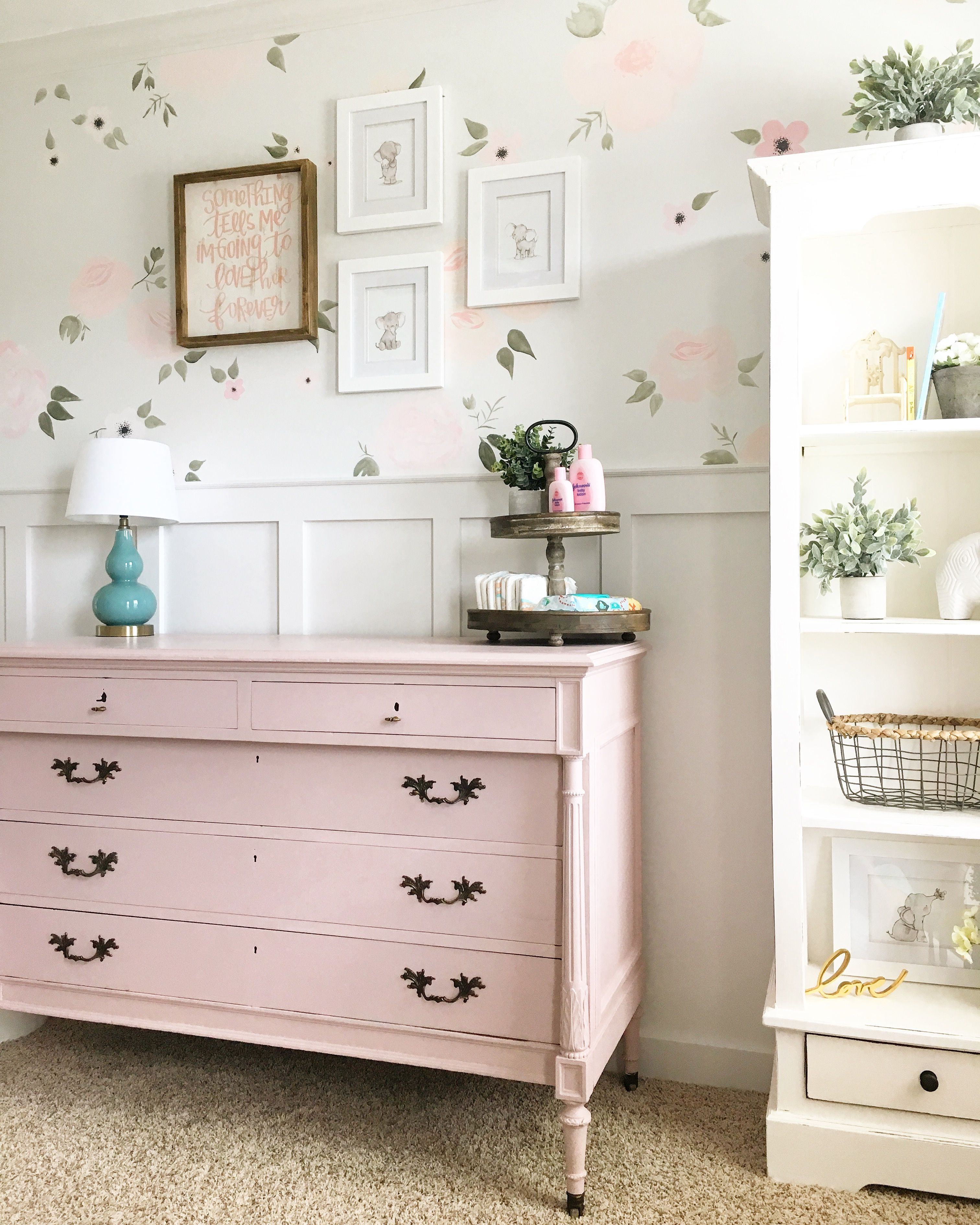 Baby girl floral nursery. Light pink changing table. Antoinette ...