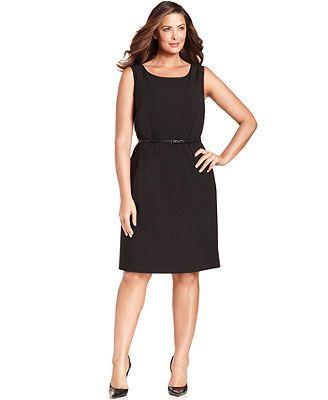 Calvin Klein Plus Size Dress Sleeveless Belted Sheath