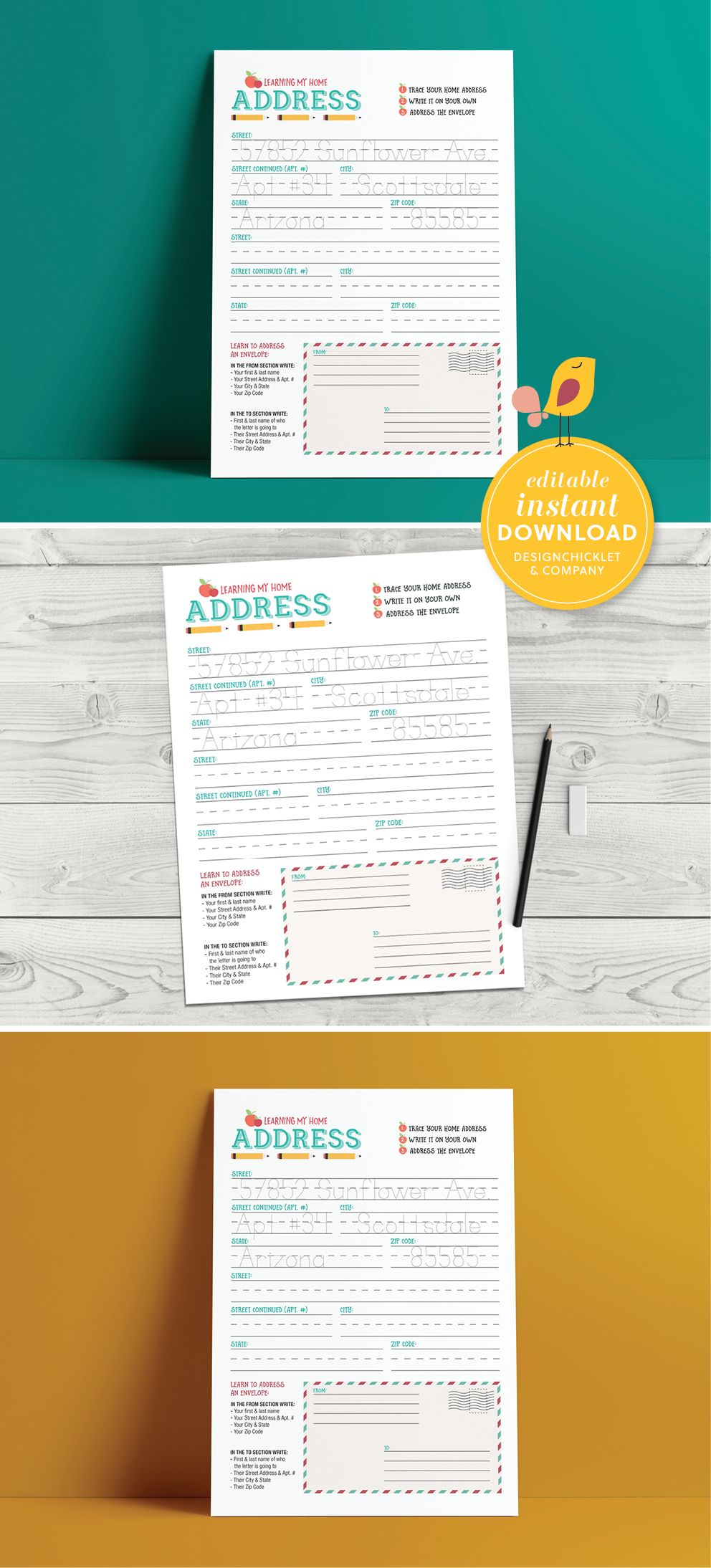 Editable Instant Download Home Address Learning Worksheet Etsy Learning Worksheets How To Memorize Things Writing Practice