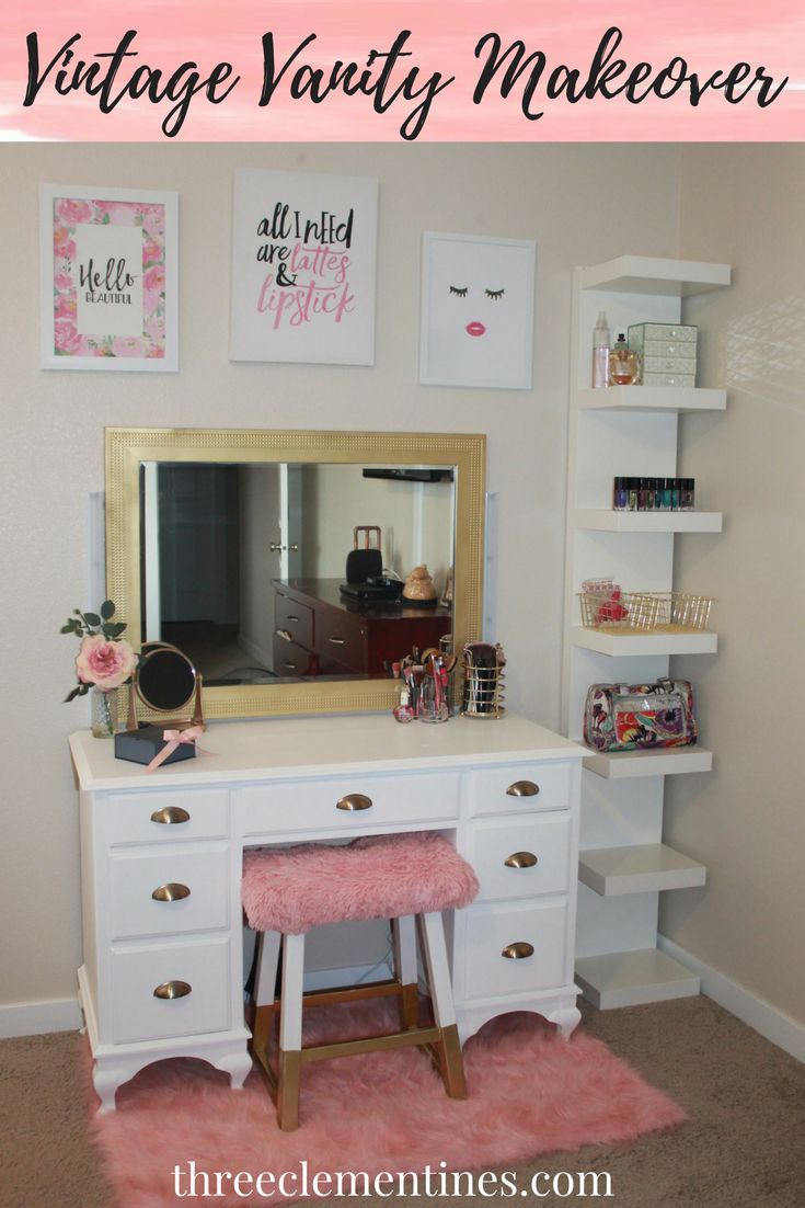 Diy vintage vanity makeover mirror makeover bedroom vintage and