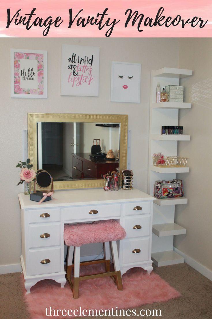Diy Vintage Vanity Makeover Three Clementines Vanity Makeover Bedroom Vanity Bedroom Diy