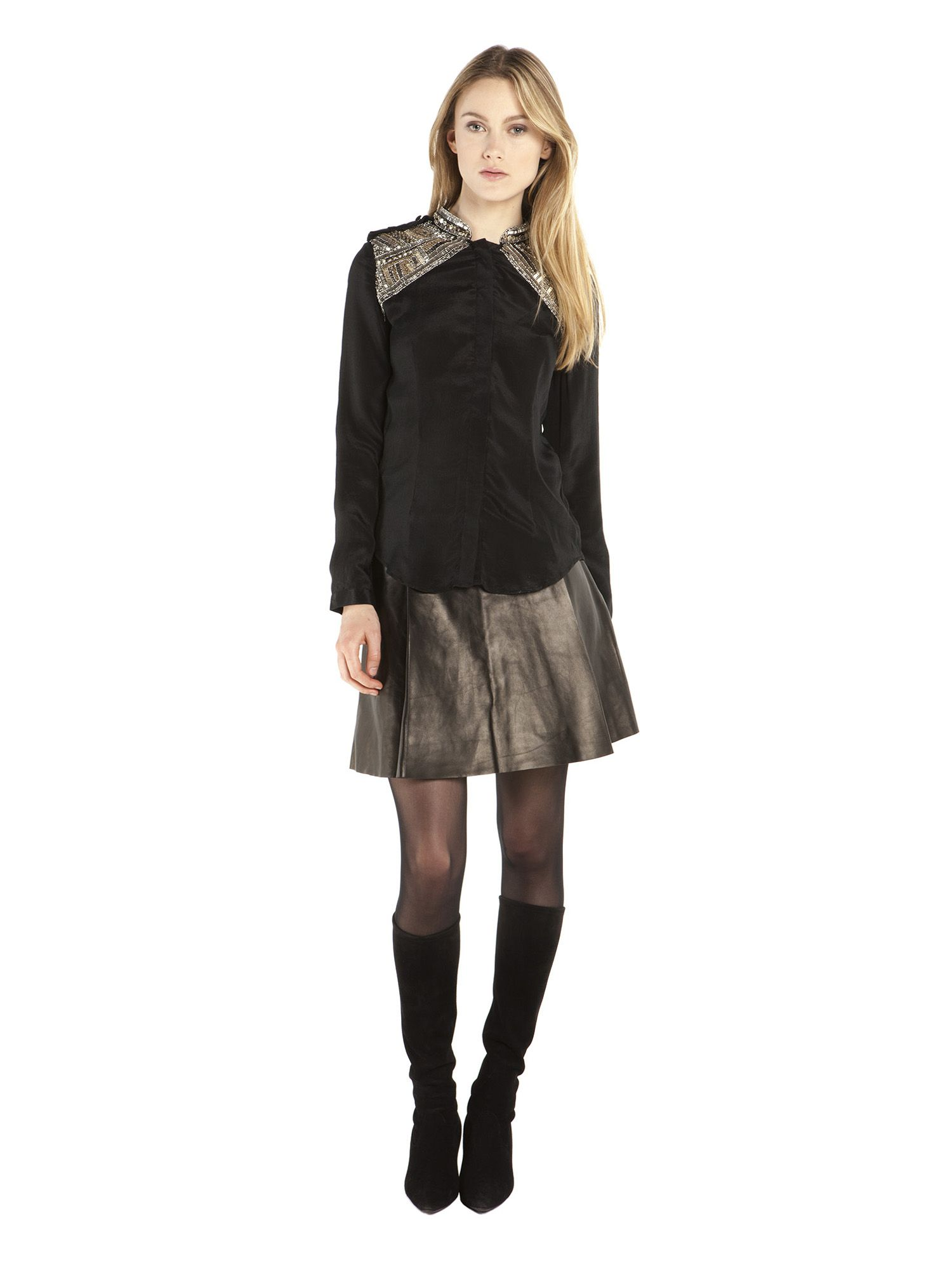 Sierra Blouse Black + Leather Skirt Black