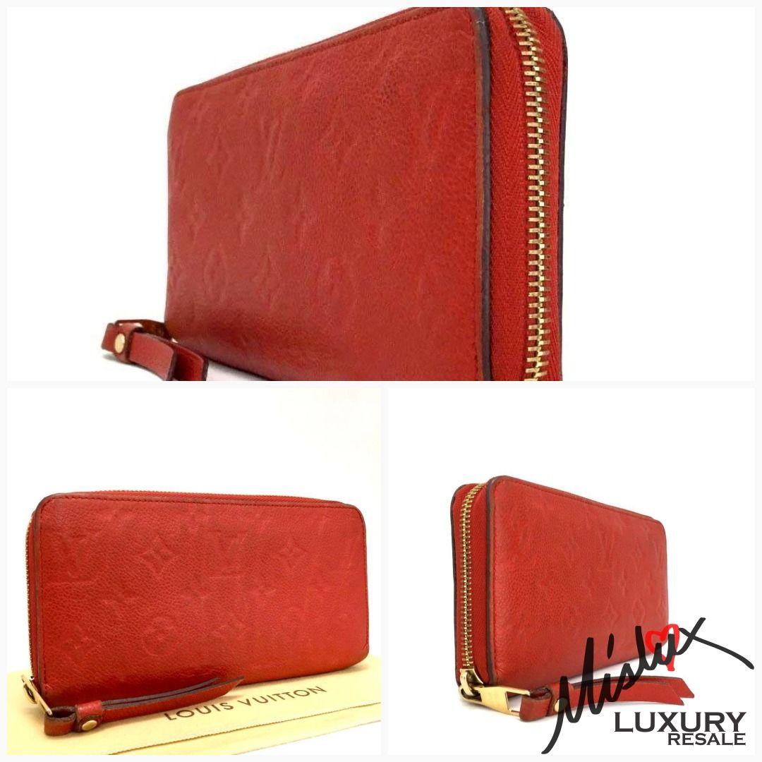 Louis vuitton red empreinte soft leather lv monogram gm