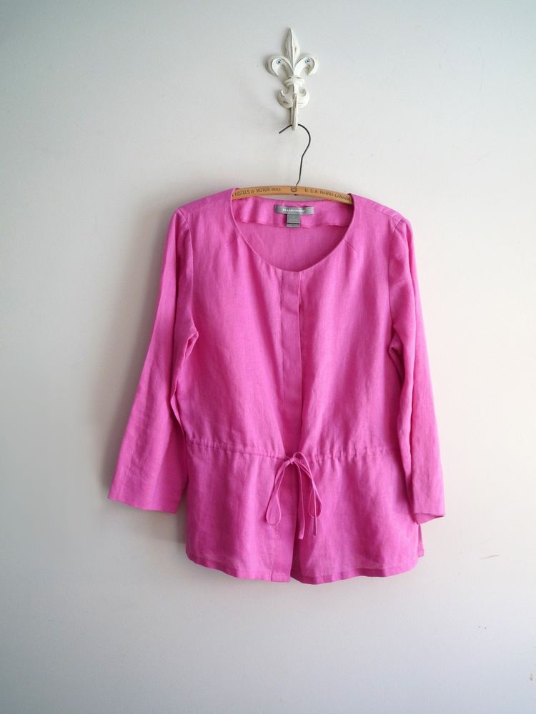 ELLEN TRACY Pink Linen Tunic Shirt Top Blouse M MEDIUM EUC #EllenTracy #Tunic #ellenTracyLinen #linentunic #pinklinen #freeshipping
