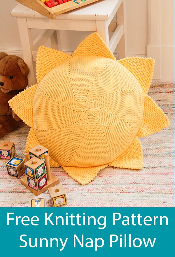 Free Knitting Pattern for Sunny Nap Pillow