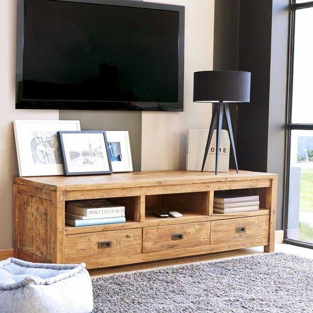 Meuble TV en bois de Teck recyclé - Niches et tiroirs Salons