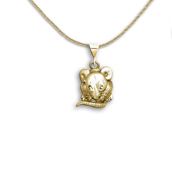 Silver in gold mouse Personalised Jewellery Mouse pendant Pearl necklace
