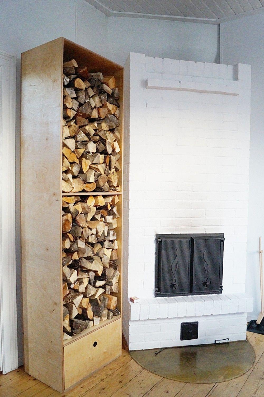 woodholder, diy, dining room, vaneri, plywood, klapikaappi, puun säilytys, puuteline, tee itse, ruokailuhuone, fireplace, takka, old house, vanha talo