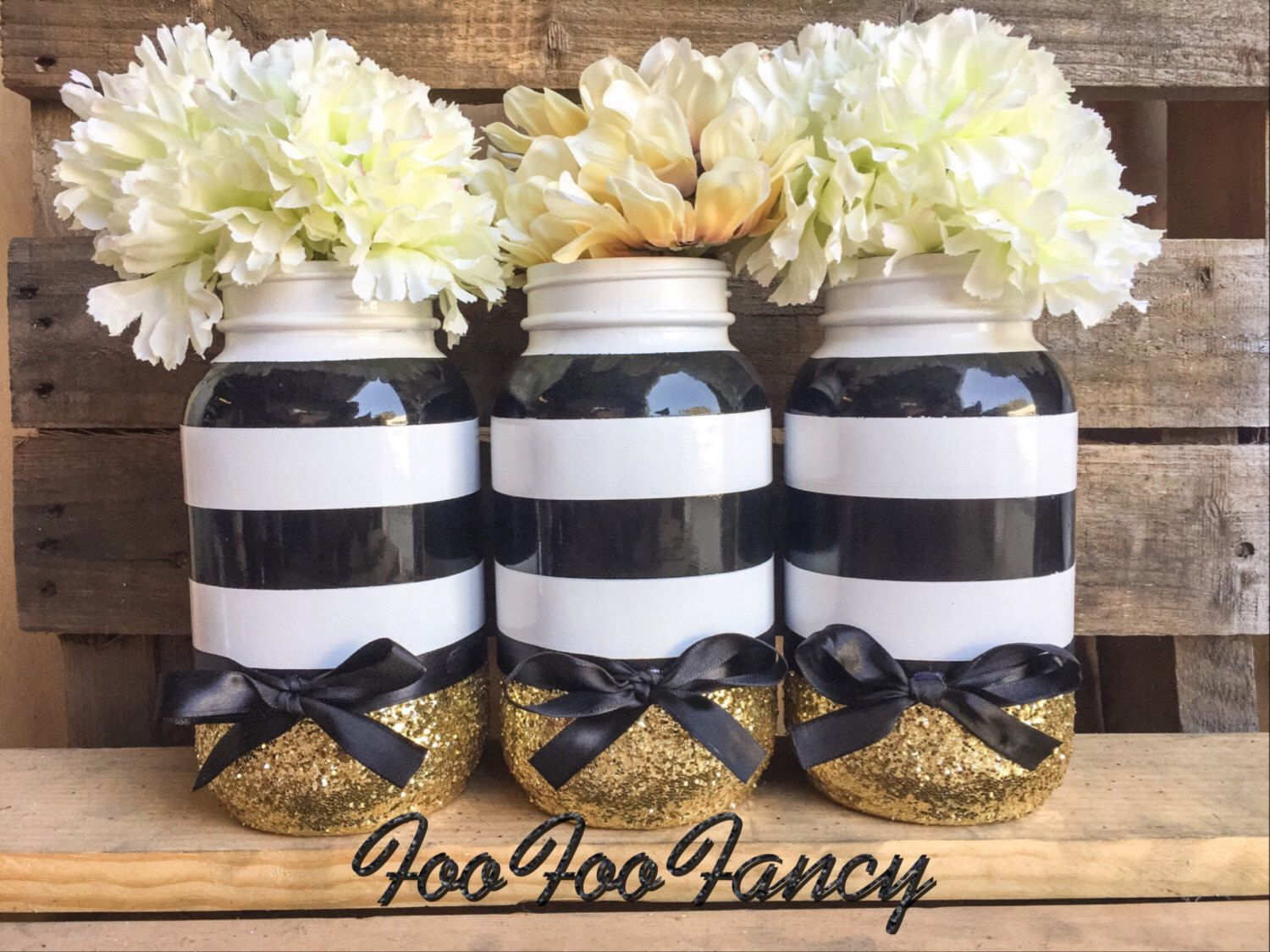 Mason Jar Party Decorations Black White And Gold Mason Jarcenterpiecesparty Decor
