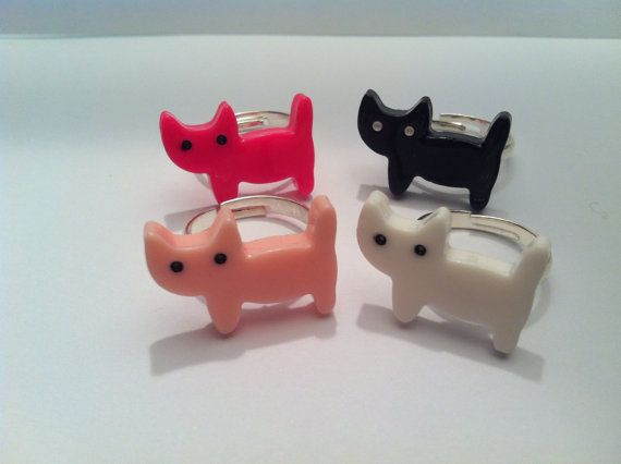 Cat rings by moineauxetsy on Etsy, $3.50