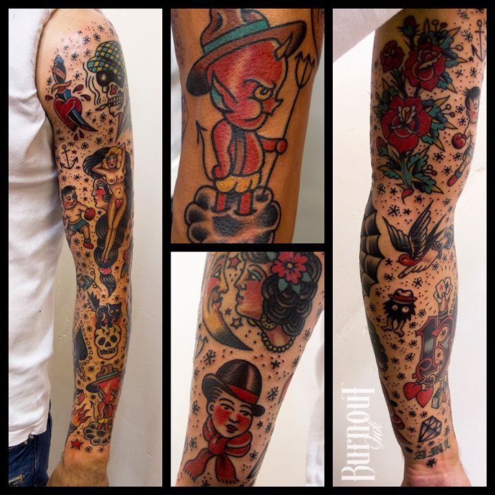 BURNOUT INK : Full Sleeve Traditional Style | tatto ideas | Traditional sleeve, Sleeve tattoos ...