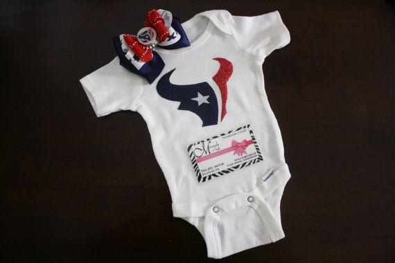 5e597d6c Texans onesie & bow by MirandaStyle on Etsy, $30.00   Baby   Onesies ...