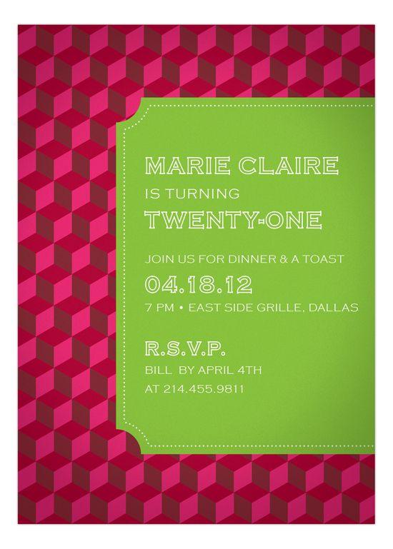 Hot Pink Stepping Blocks Invitation 21st birthday parties, Girl - fresh birthday party invitation designs