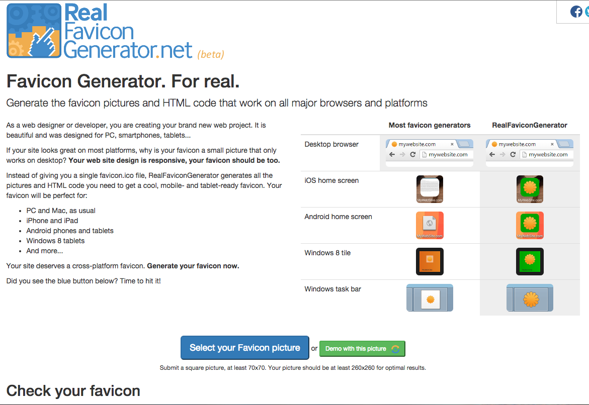 Real Favicon Generator Dot Net Generate A Range Of Shortcut Home Screen And Favicons For Your Website Plus The Html To Web Design Generation Web Project