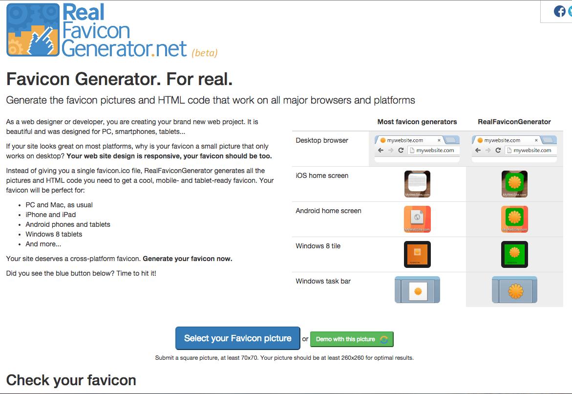 Real Favicon Generator (dot net) generate a range of