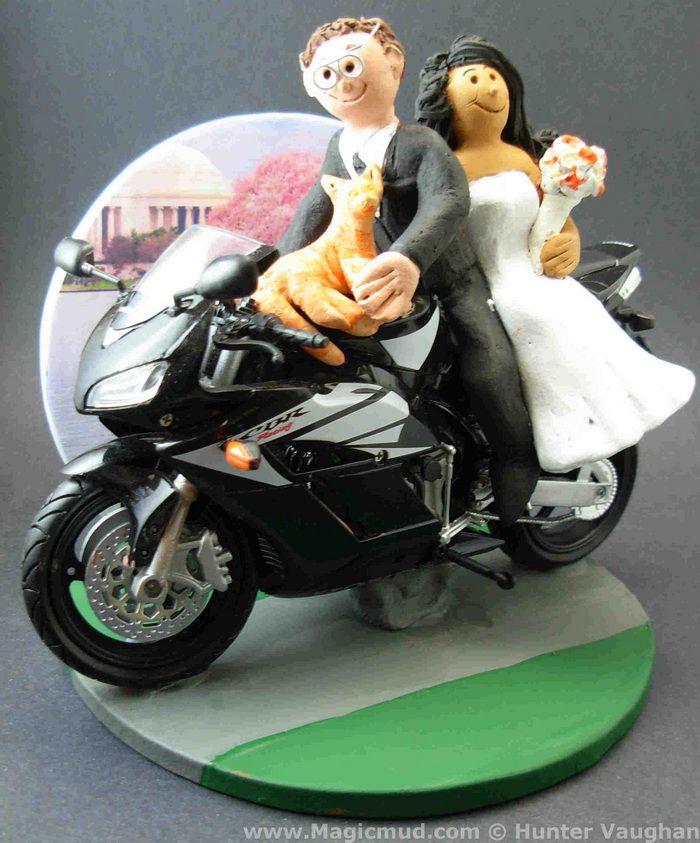 Sportbike Motorcycle Wedding Cake Topper