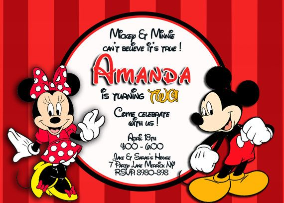 disney micky  u0026 minnie mouse invitation twins by