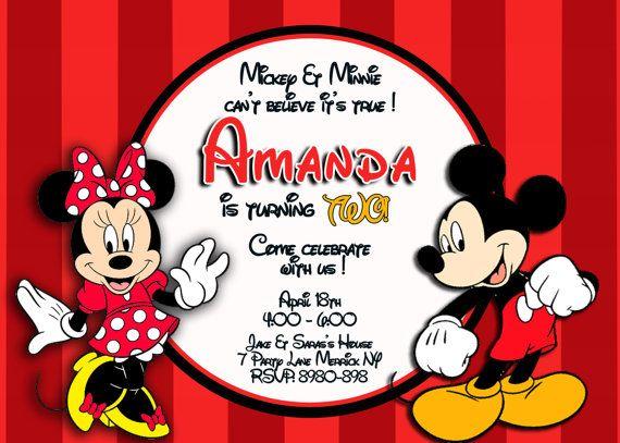 Mickey Minnie Mouse Invitation Invite Birthday Party Diy