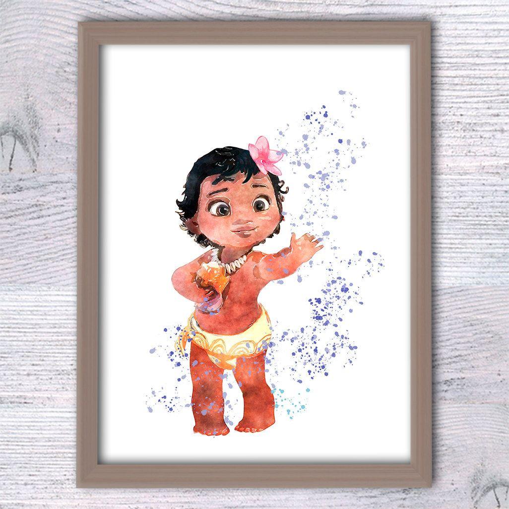 Disney Princess Moana Poster Baby Moana Art Print Girls Room Wall