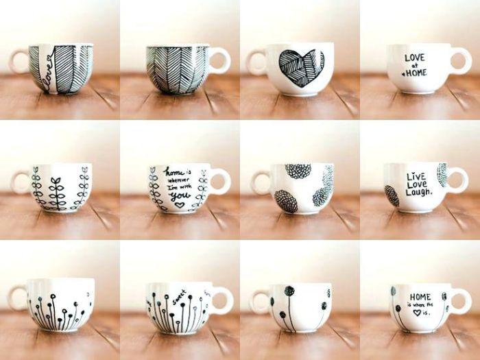 1001 Ideen Und Inspirationen Wie Sie Porzellan Bemalen Tazasceramica Colalge Mit Fotos Kaffeetassen Dekoriert Mit In 2020 Diy Topferei Tassen Bemalen Diy Becher