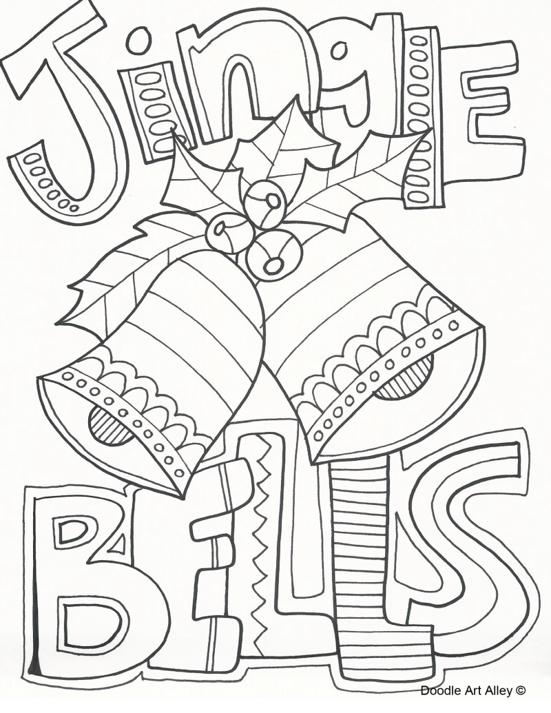 Christmas bells with bow coloring pages for kids, printable free | 1035x800