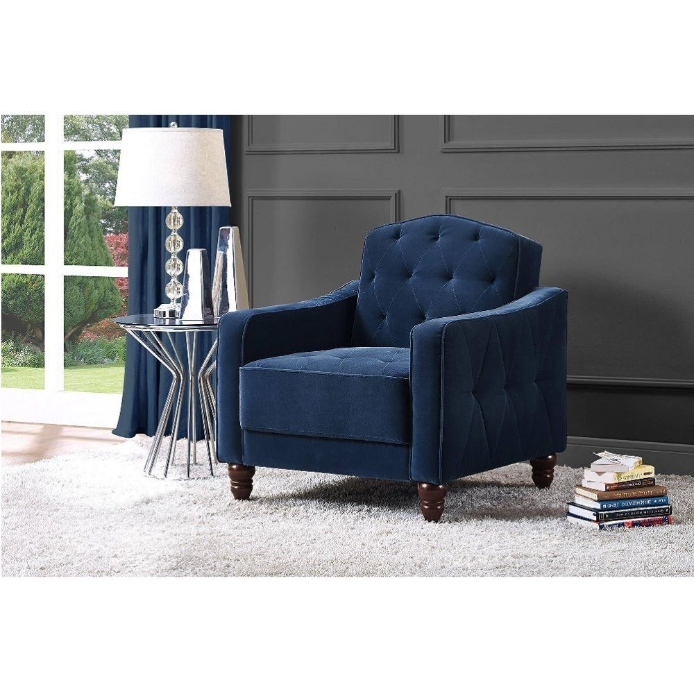 Accent chair with arms blue club vintage tufted velour