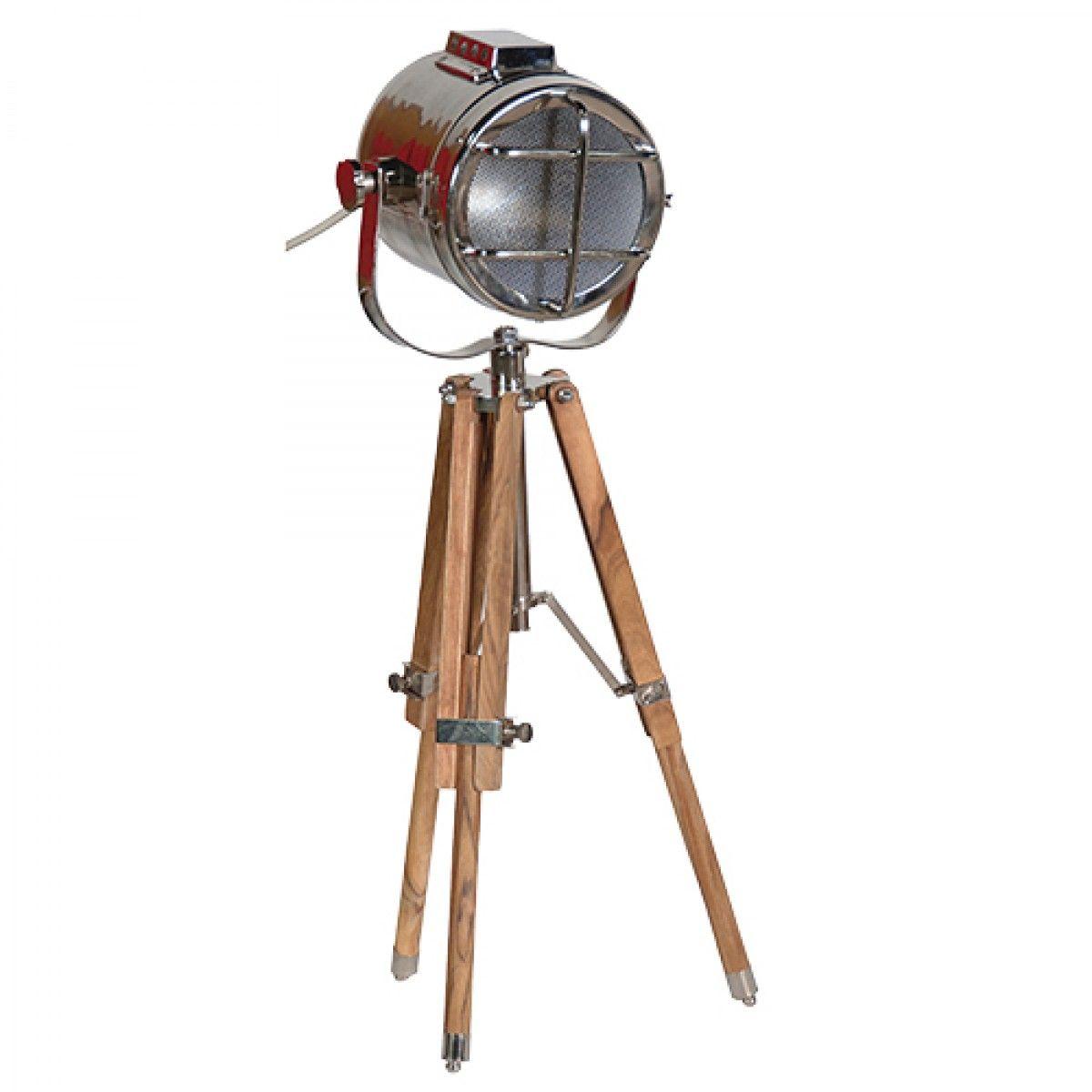 Small Wood And Nickel Tripod Lamp Tripod Lamp Movie Floor Lamp