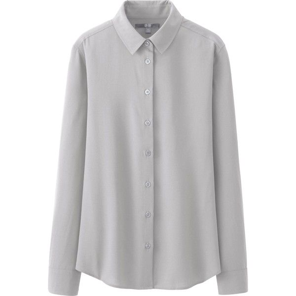 64e76e8c2df2a3 UNIQLO Women Rayon Long Sleeve Blouse ($30) found on Polyvore ...