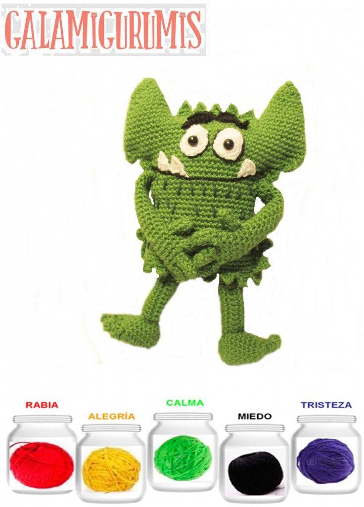 Monstruo de colores. Patrón gratis | amigurumi | Pinterest | De ...