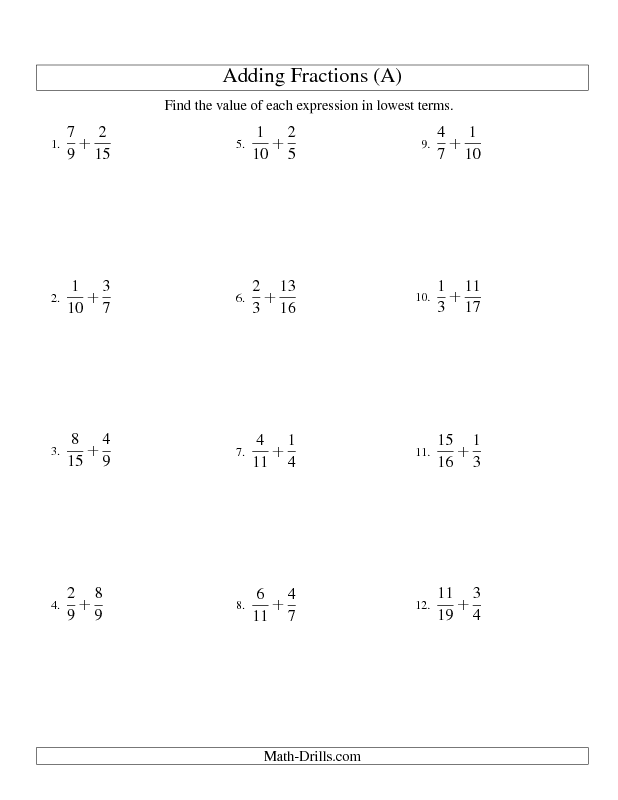 Fractions Worksheet -- Adding Fractions with Unlike ...