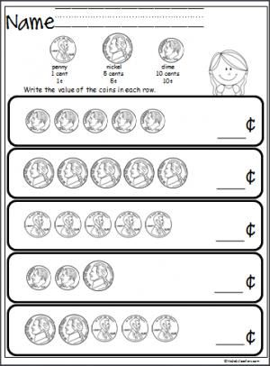 Free coin counting math worksheet. Students practice adding pennies ...