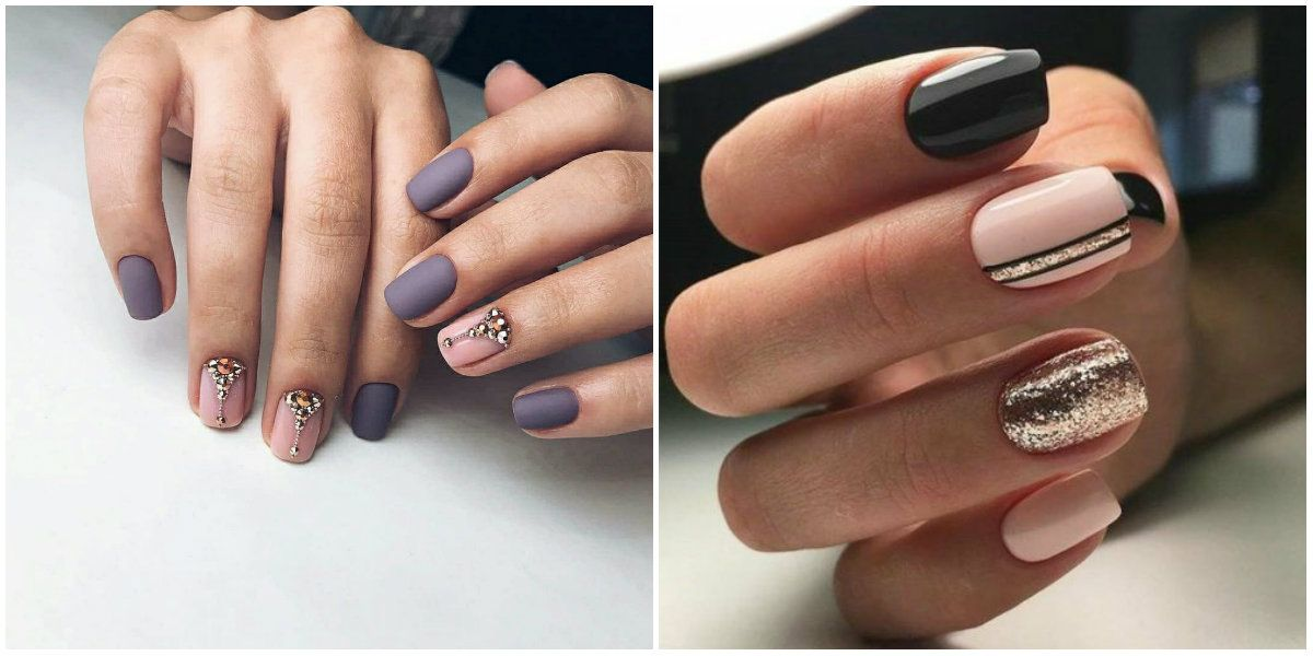 Winter Nail Colors 2019 Nail Design With Glitters And Rhinestones