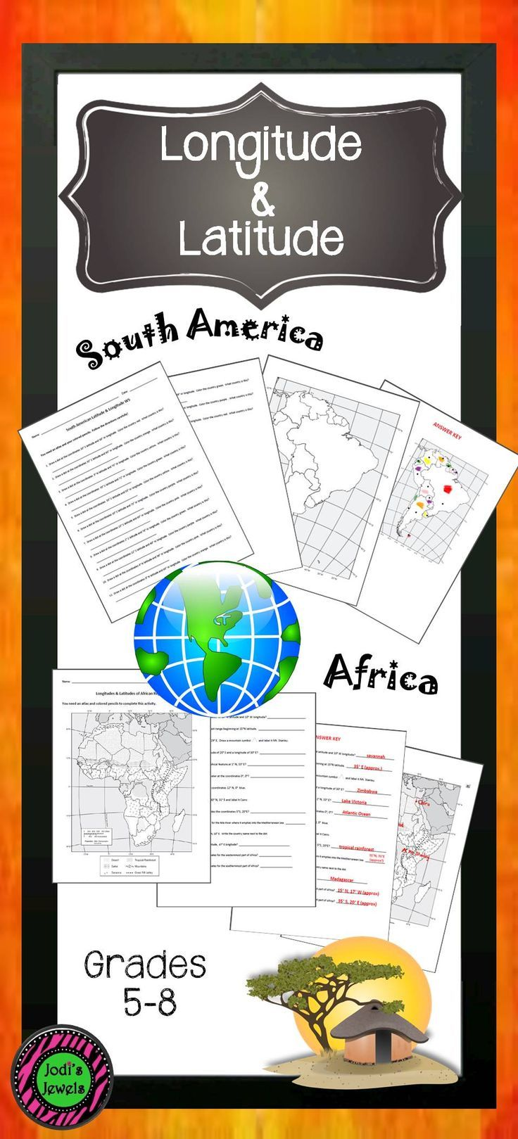 South American Latitude & Longitude WS | Worksheets, Social ...
