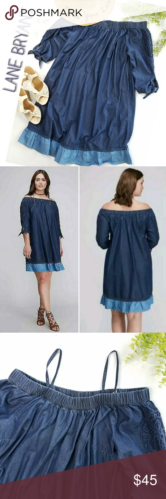 3fef170c889 NWT! LANE BRYANT denim chambray off shoulder dress Plus size chambray dress  perfect for spring