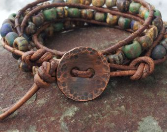 Photo of Triple wrap leather bracelet/Hand loomed/matte aged czech picasso beads/glass cactus flowers/copper square dragonfly button/Fun!!