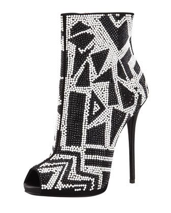 Crystallized Peep-Toe Bootie, Black/White by Giuseppe Zanott.
