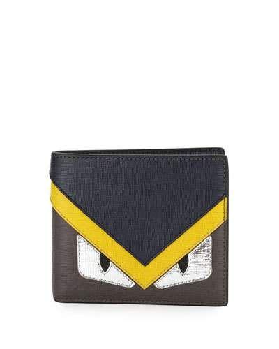 be42d91448 N41DJ Fendi Silver Monster Eyes Leather Bi-Fold Wallet