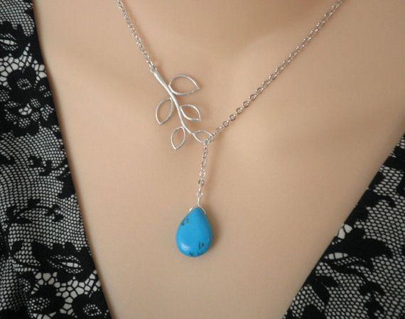 Silver Necklace  Turquoise and Branch Lariat by ElementOfNature, $17.00