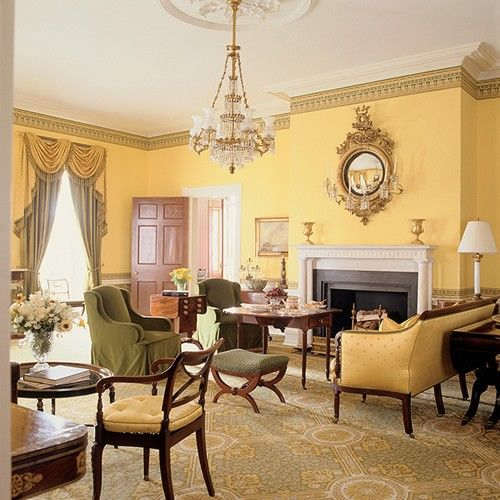 golden yellow walls in living room at gracie mansion 71076