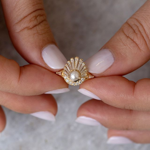 Photo of Diamond and Pearl Engagement Ring – Baguette Diamond Shell Ring