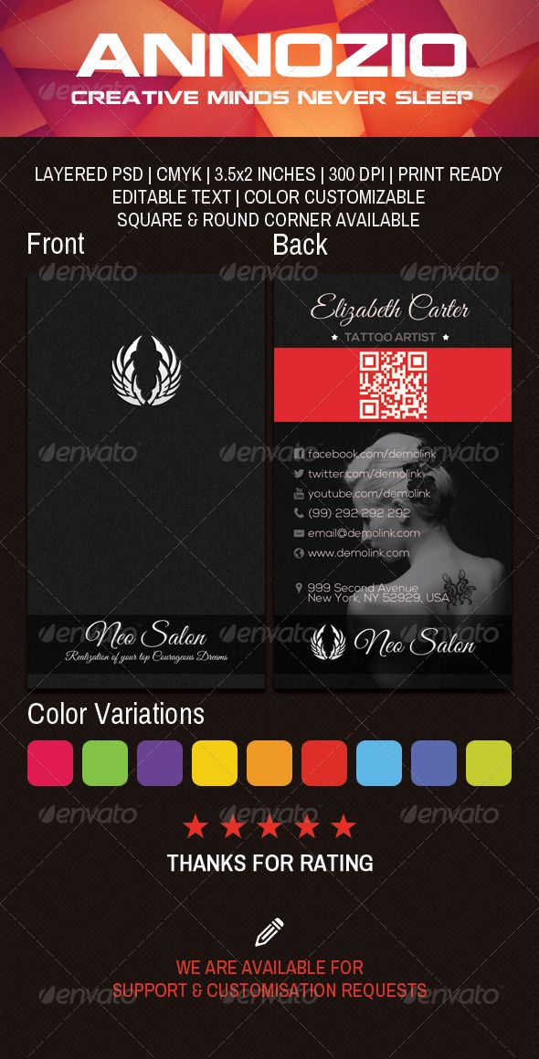 Tattoo Business Card An0045 Printable Business Cards Free Business Card Templates Business Cards