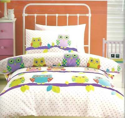 OWL-OWLS-PURPLE-GREEN-ORANGE-BLUE-DOUBLE-FULL-bed-QUILT-DOONA ... : owl double bed quilt cover - Adamdwight.com
