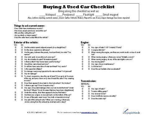 Used Car Buying Checklist >> Used Car Checklist Download And Print Pdf File Car