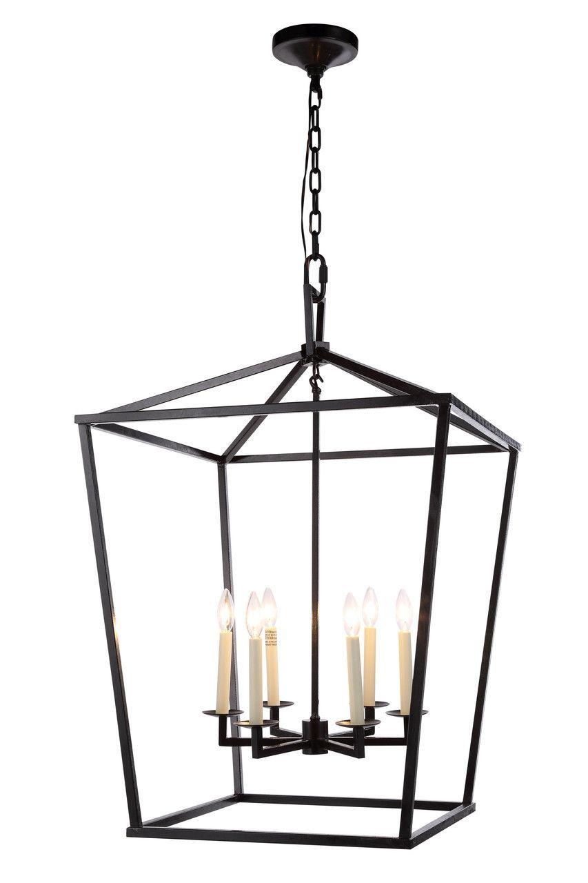 Denmark 6 Light Pendant Lamp in Vintage Bronze Finish 1422D24VB