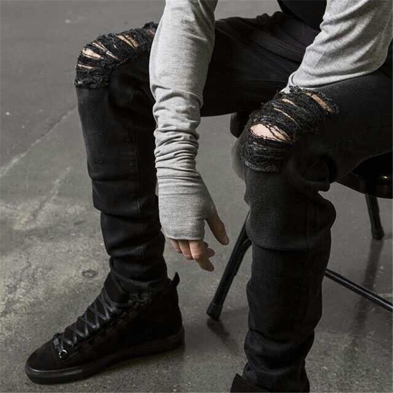 Cool Mens Hip Hip Jeans Skinny Pencil Men Kanye West Denim Pants ...