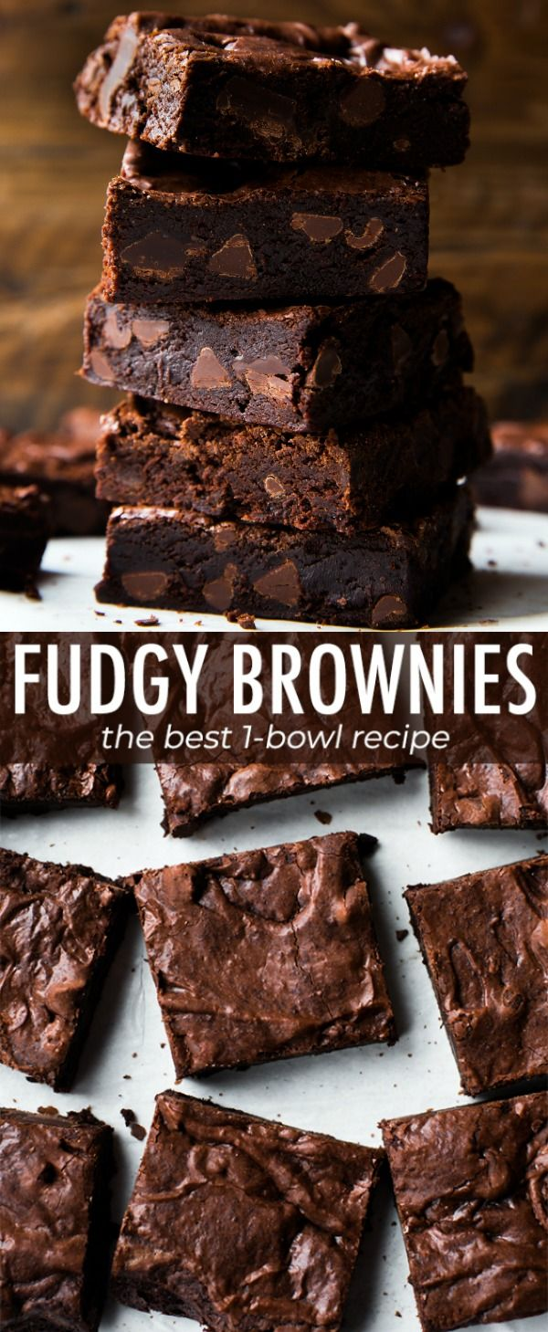Seriously fudgy homemade brownies that are not only super simple, but also rich, moist, soft, and dense! Recipe on sallysbakingaddiction.com #homemadesweets