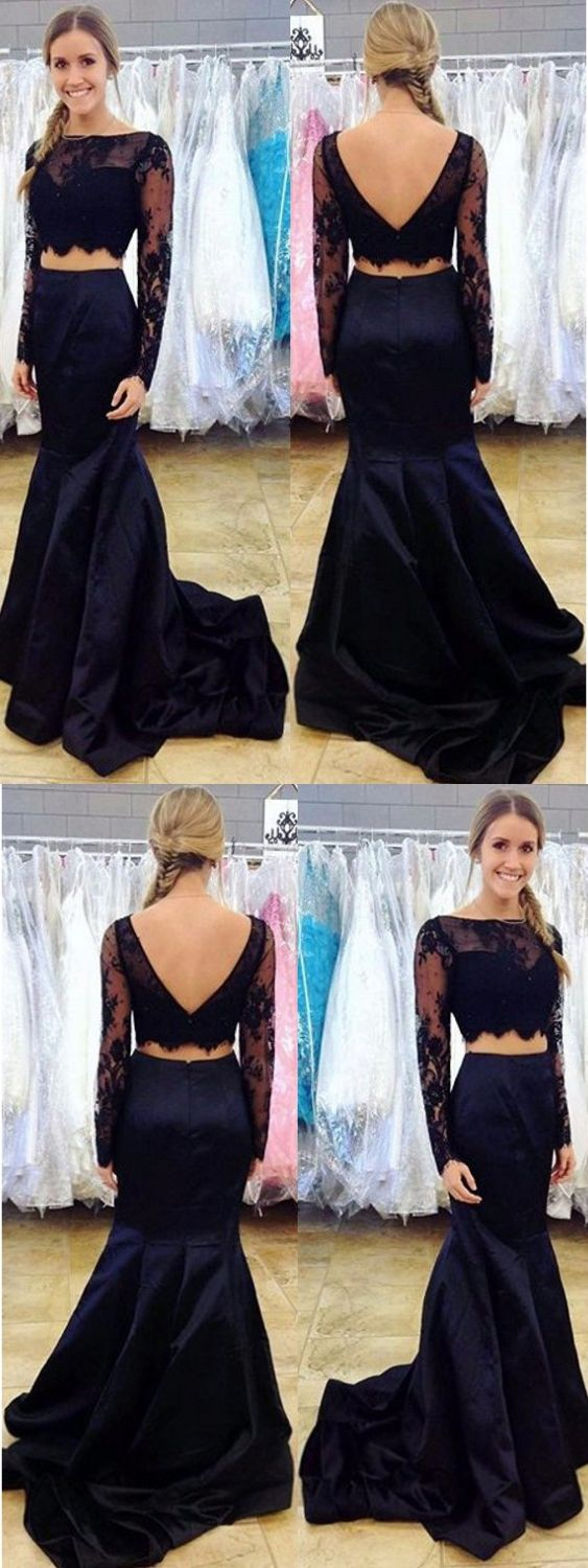 Two piece prom dresses long sleeves sweep train black lace prom